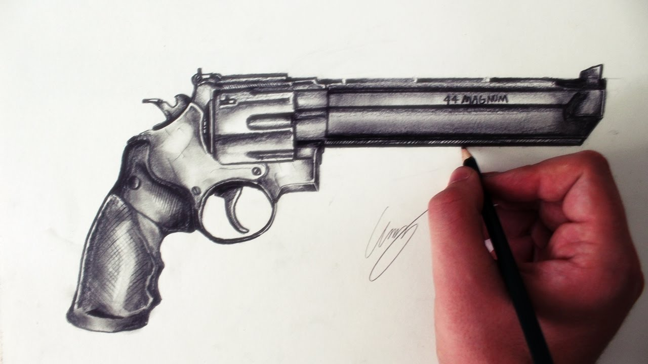 Drawn pistol 44 magnum Um Wesson (Drawing a Desenhando