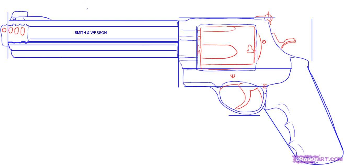 Drawn pistol 44 magnum To FREE How to how