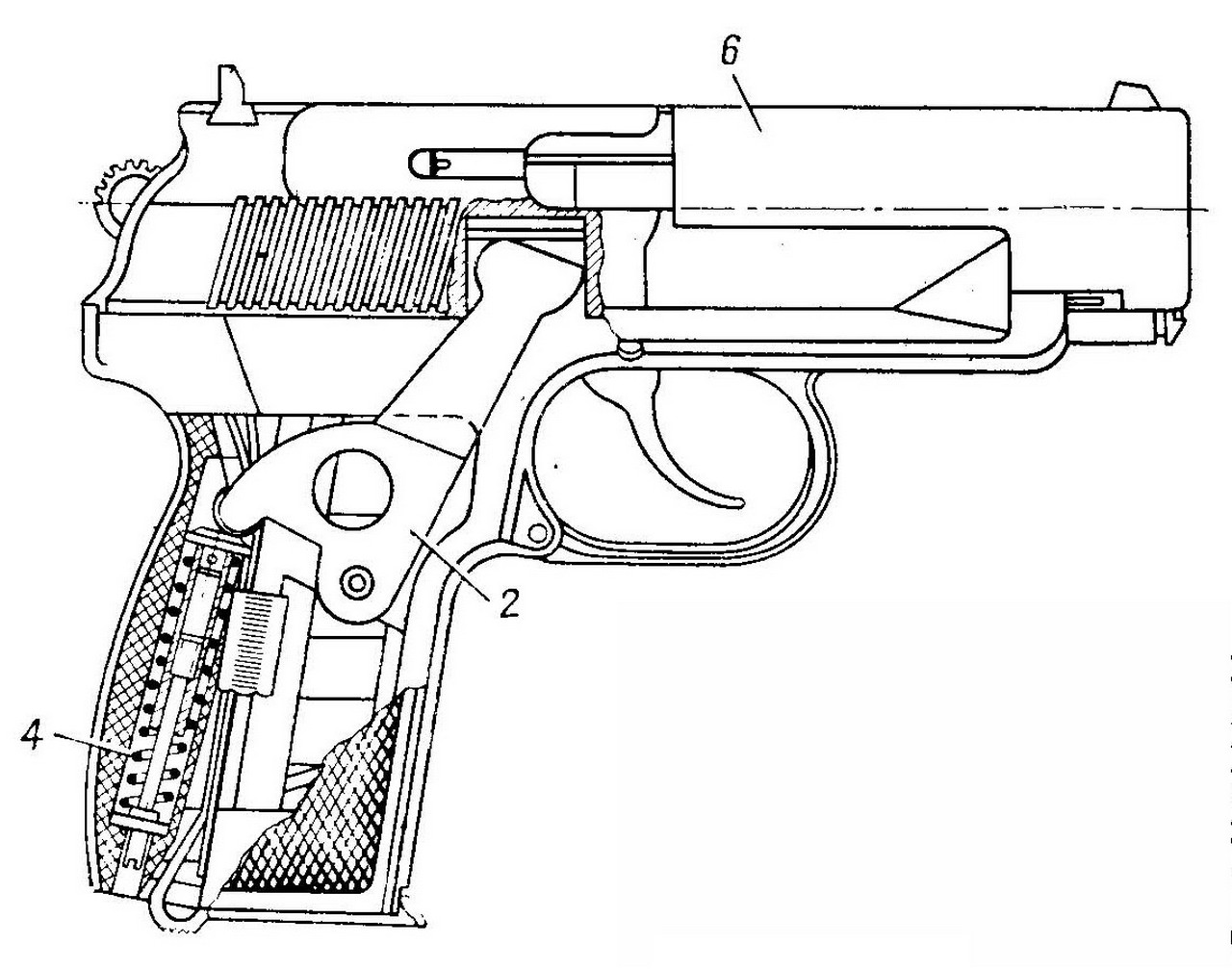 Drawn pistol 9mm Dated from Diagram 9mm –