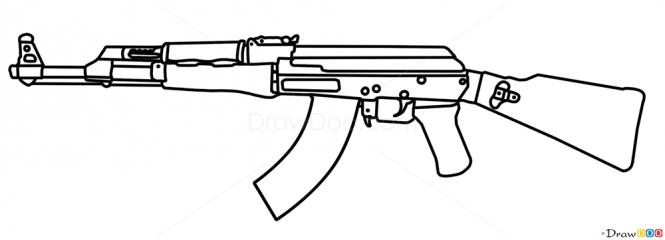 Drawn pistol ak47 To Guns  47 and
