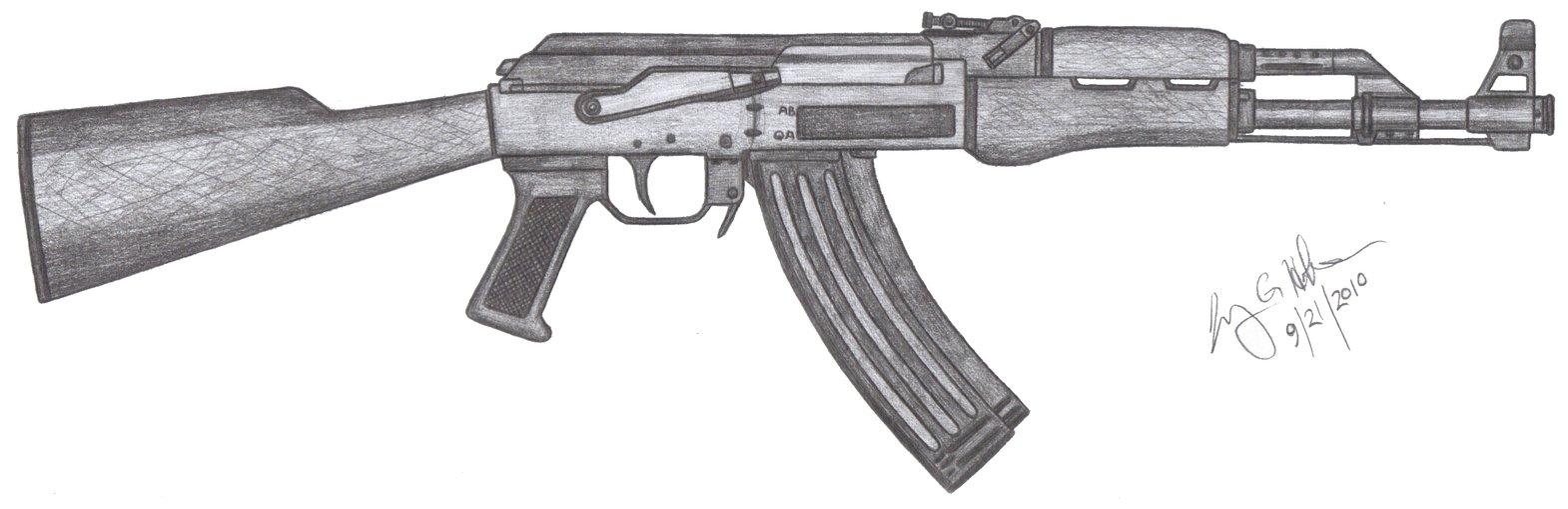 Drawn pistol ak47 40 CzechBiohazard ABiator by kalashnikov