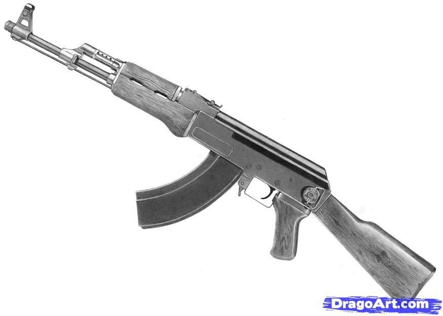 Drawn pistol ak47  Step draw Step How