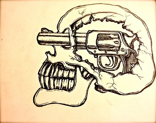 Drawn pistol awesome gun Tumblr #skull #trippy Skull drawing
