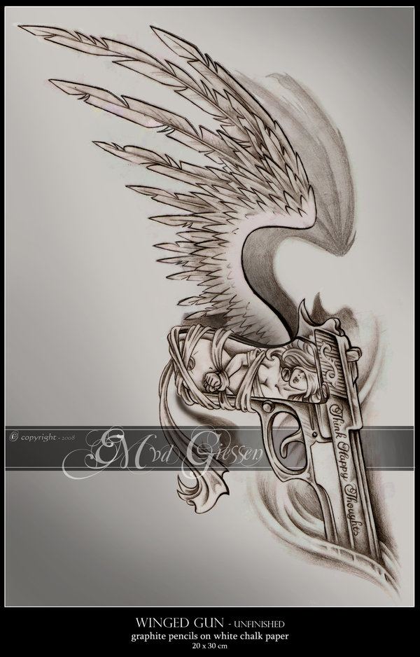 Drawn pistol awesome gun Tattoo PICTURES) Ravens Fairy Facinating
