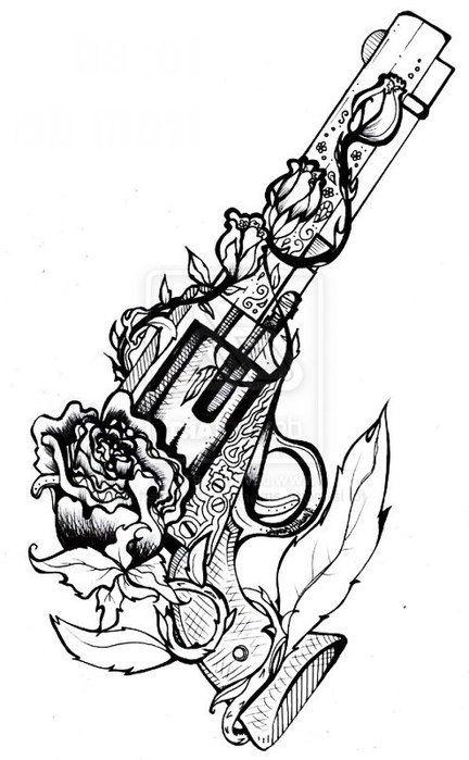 Drawn pistol black and white Great Roses 25+ guns drawings