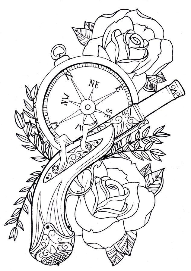 Drawn pistol black and white Best Outline sleeve gun rose