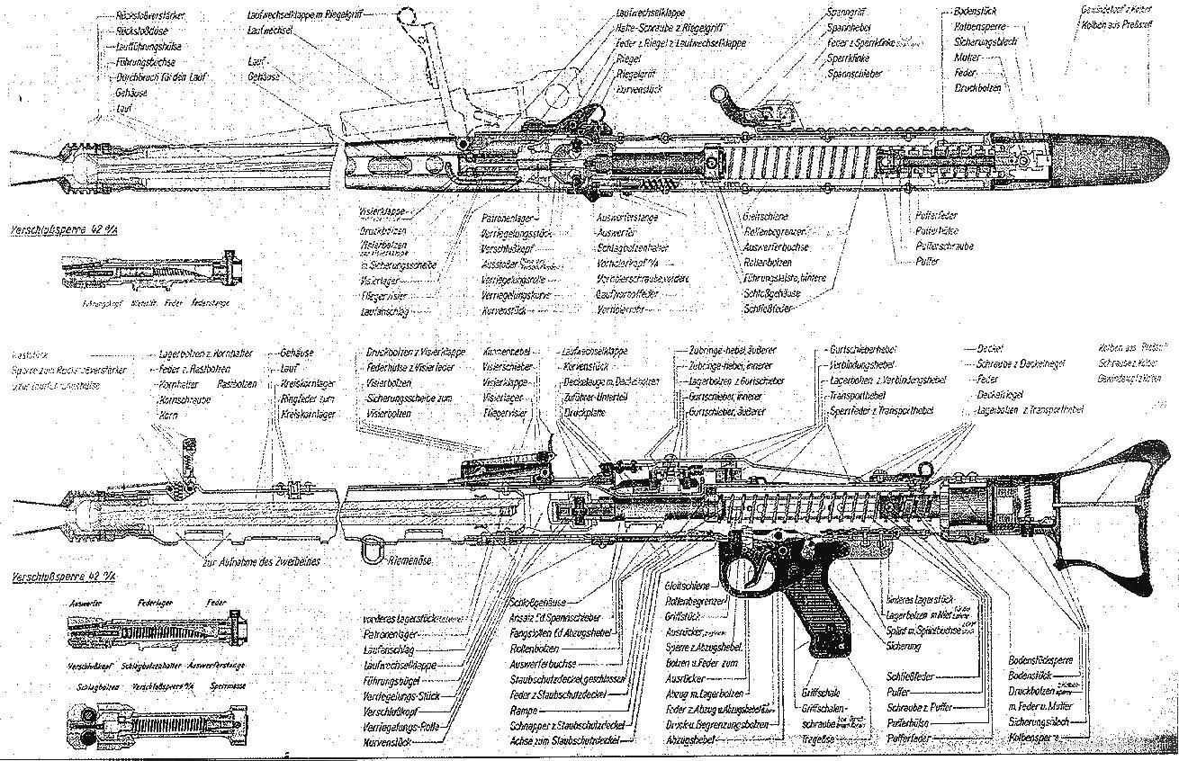 Drawn pistol blueprint Search diagram internals Triggers mg42