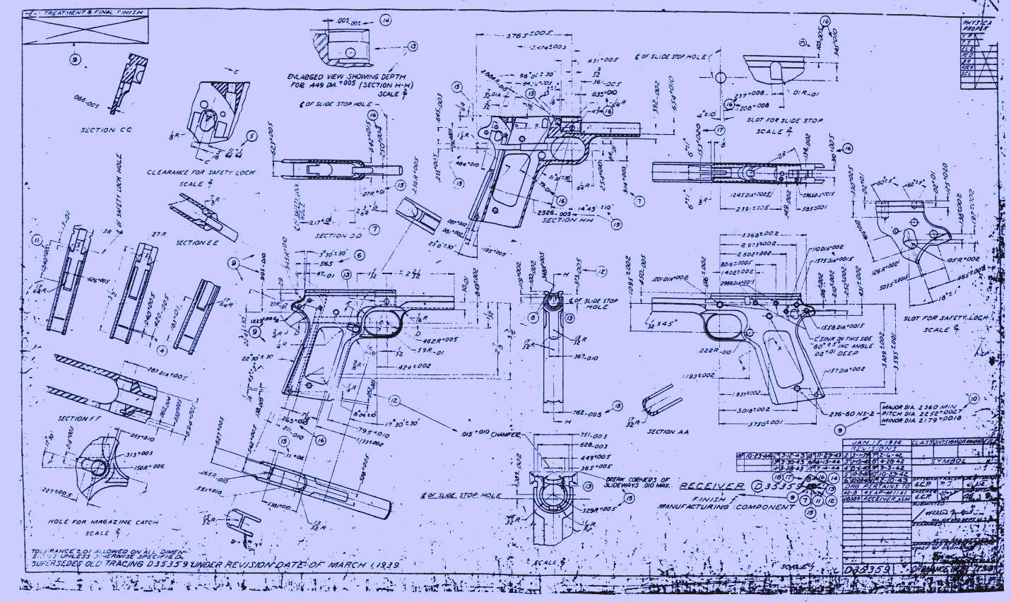 Drawn pistol blueprint Info/Construction /downloads/Gunsmithing and of 1911rec