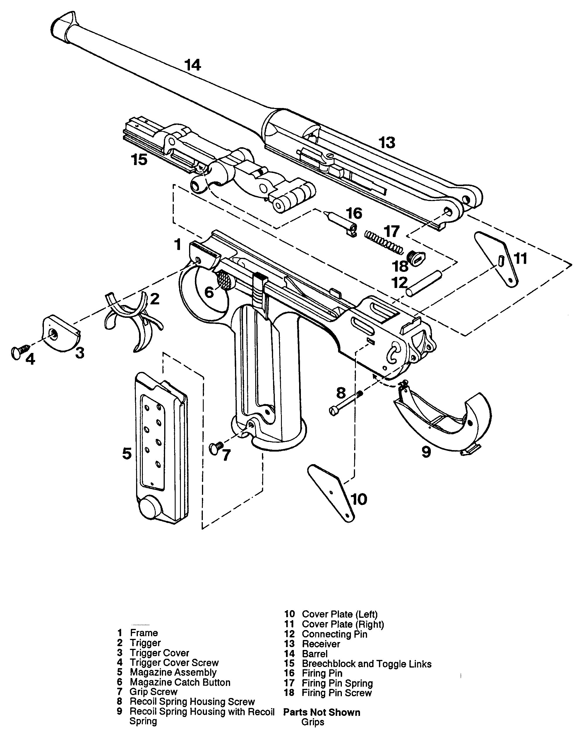 Drawn pistol blueprint Blueprint Luger for Download blueprint