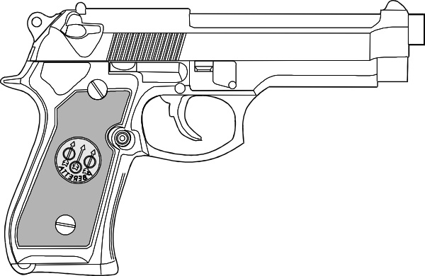 Drawn pistol clip art Open Free office Outline clip
