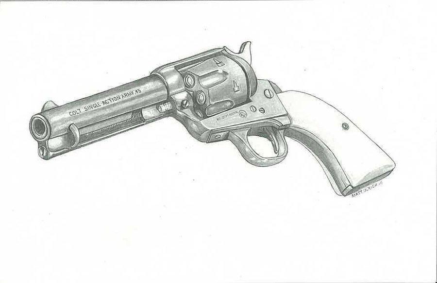 Drawn pistol colt 45 Colt drawing DeviantArt by 45