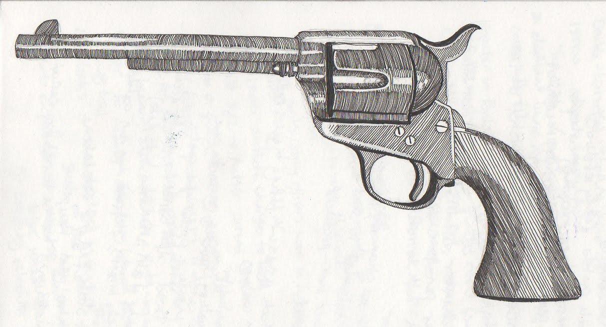 Drawn pistol colt 45 Western Pistol Revolve Western Drawing