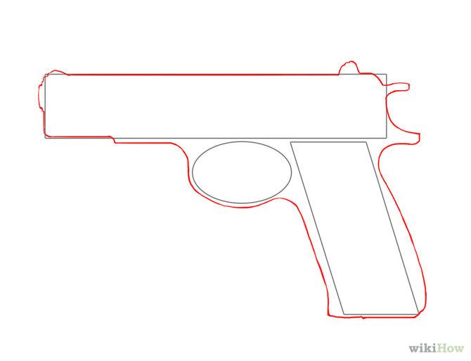 Drawn pistol contour drawing Gun Drawing a Gun Simple