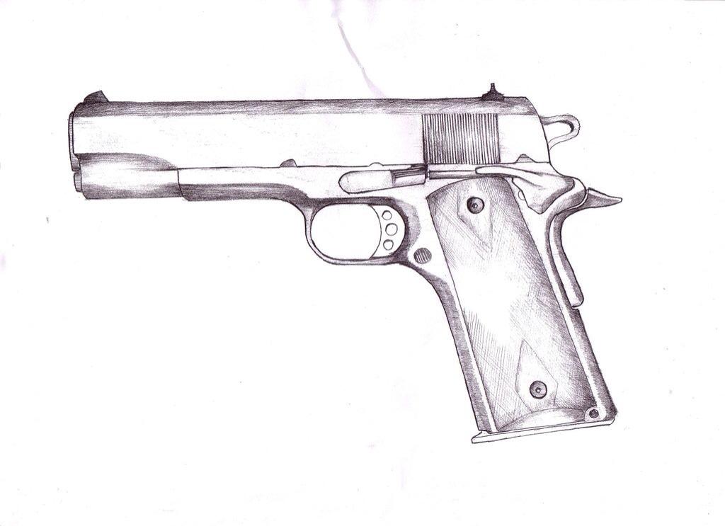 Drawn pistol cool gun Line  guns Grossman Flickr