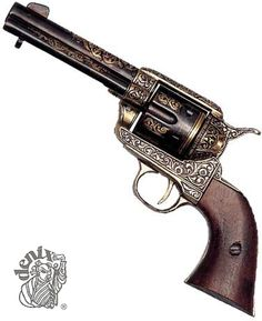 Drawn pistol cowboy gun Com  West 1873 Brass