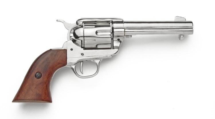 Drawn pistol cowboy gun NICKEL REVOLVER GUN COWBOY FIRING