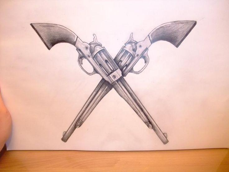 Drawn pistol cowboy gun ~Aiedail Pistol tattoos Pinterest art