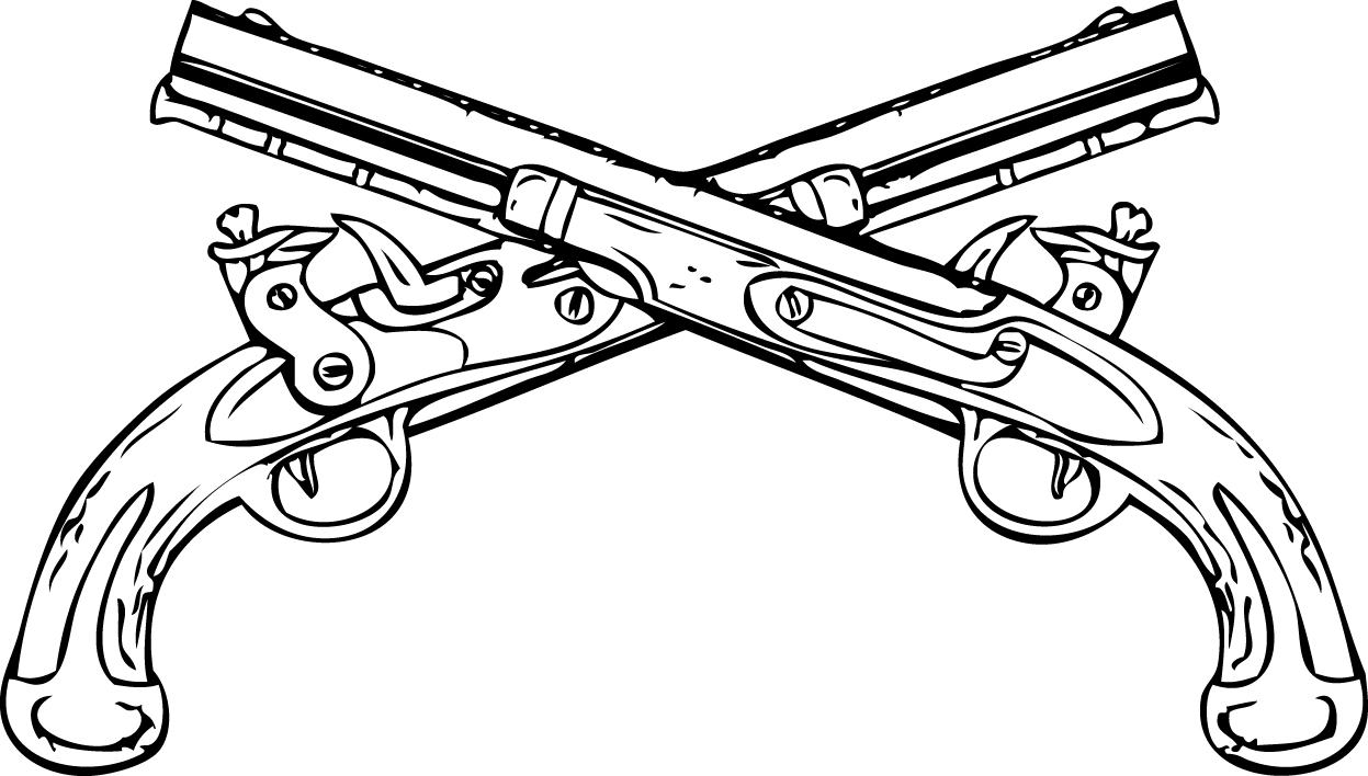 Drawn pistol crossed Clipart Cliparts White Guns The