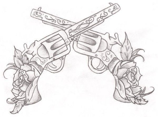 Drawn pistol crossed Pinterest pistols Tattoo Tatting Crossing
