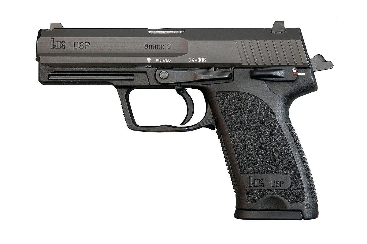 Drawn pistol detailed Koch Heckler  Wikipedia USP