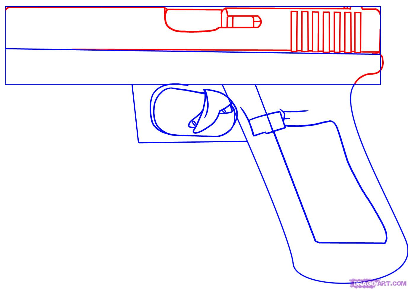 Drawn pistol easy Draw Online Step hand FREE