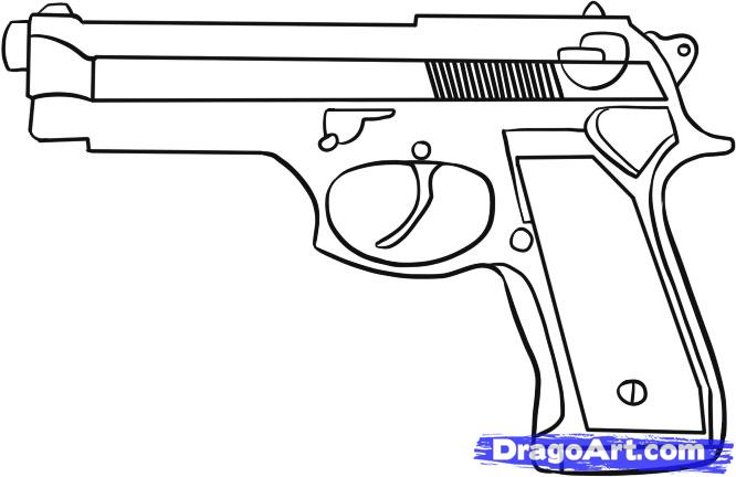 Drawn pistol easy 6 Drawing simple to draw
