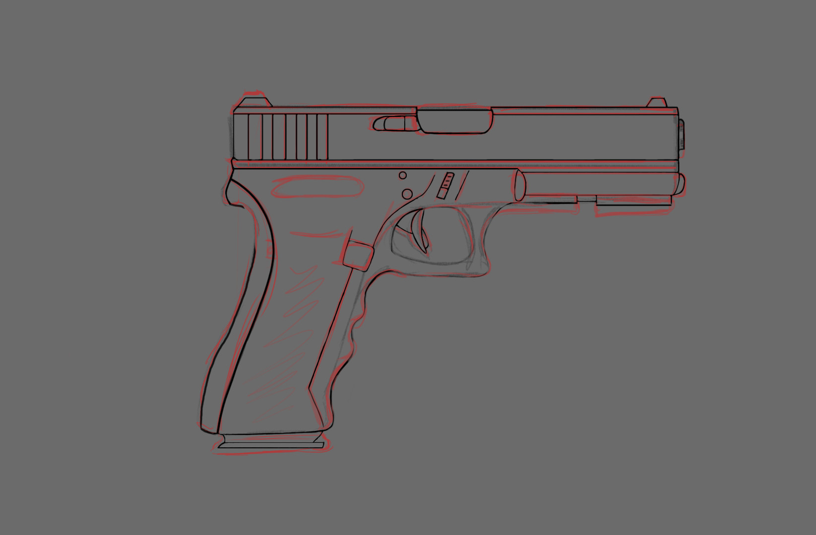 Drawn pistol glock 17 Jayden the Pistol 17 then