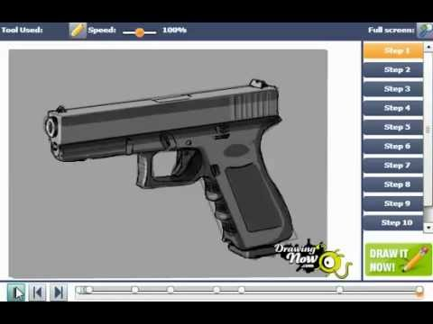 Drawn pistol glock 17 9mm How 17 Glock To