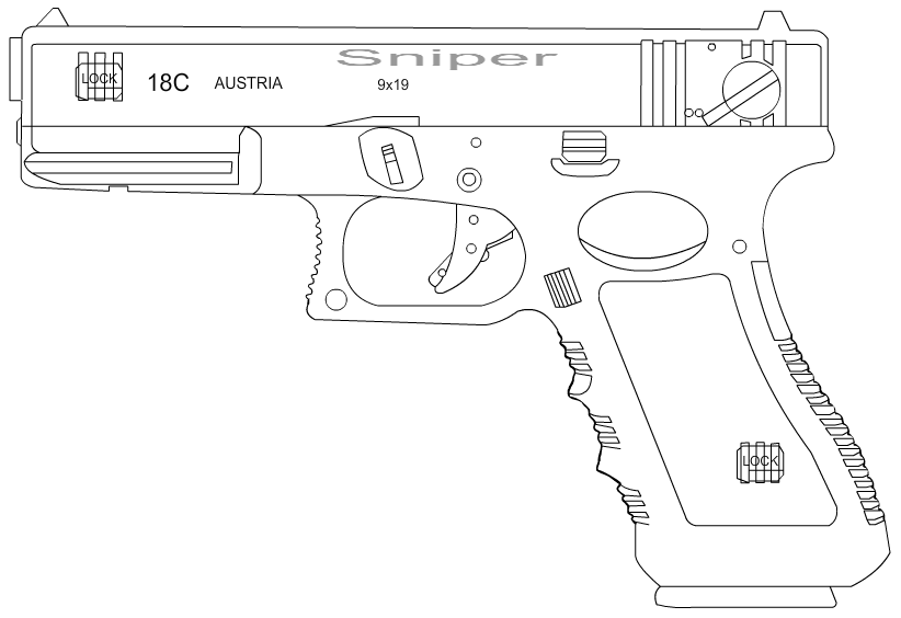 Drawn pistol glock 18 18c 18c 4 ta30m6n 18