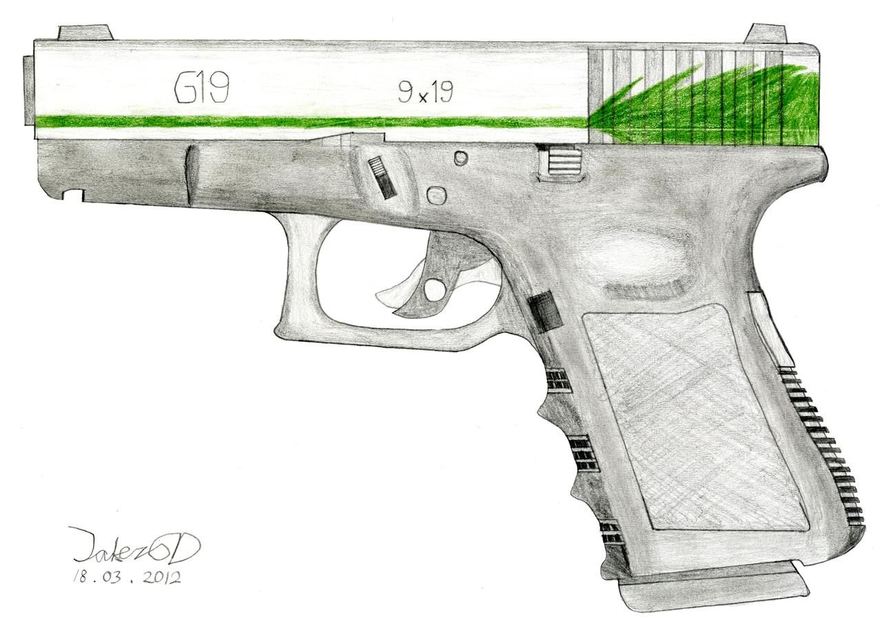 Drawn pistol glock 18 On by Glock G19 Glock