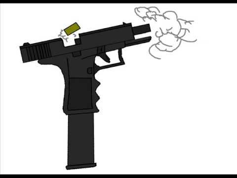 Drawn pistol glock 18 (Microsoft YouTube Glock Animated Paint)