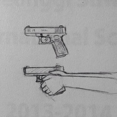 Drawn pistol glock 19 Glock #gun #pencil Jonah (@jonahflechette)