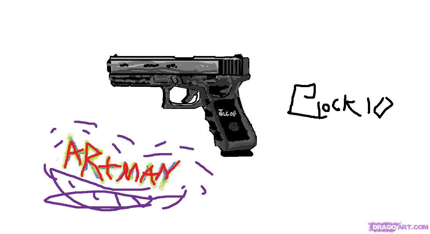 Drawn pistol graffiti How Glock guns a 10