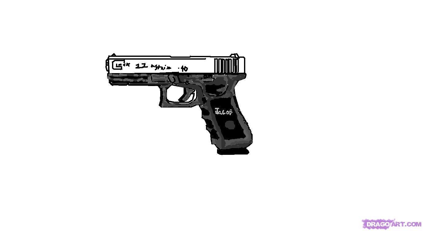 Drawn pistol graffiti How Gun Added 10 Step
