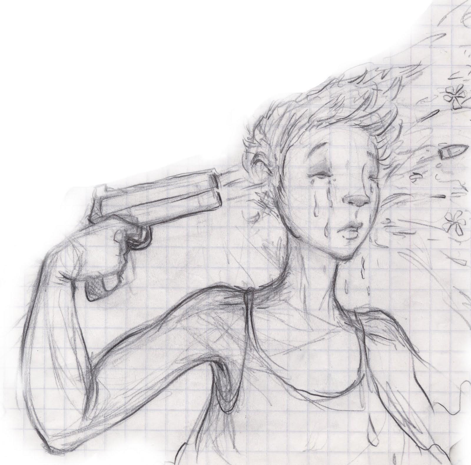 Drawn pistol gun shooting Tattoo girl head girl design