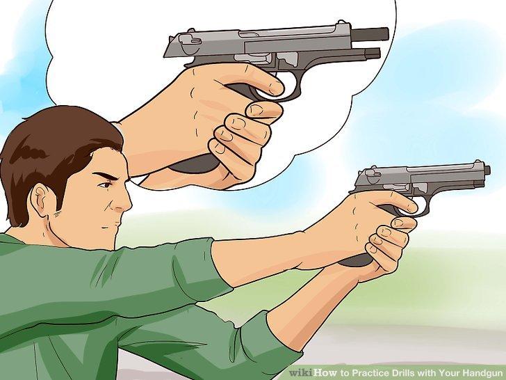 Drawn pistol gun shooting With 5 Practice Image Handgun
