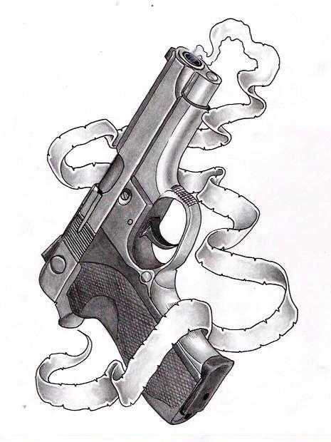 Drawn pistol gun smoke Tattoo Pinterest Guns 81 silentminja