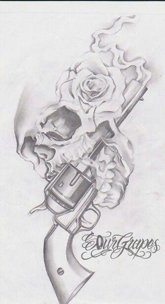 Drawn pistol gun smoke On Pinterest Gun guns ideas
