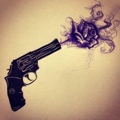 Drawn pistol gun smoke Great tattoos on ideas cool
