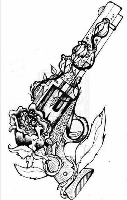 Drawn pistol guns and rose Ideas tattoos great tattoo tätowierungen