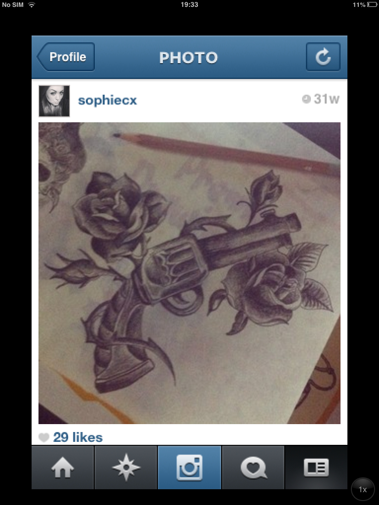 Drawn pistol guns and rose Tattoo tattoo rose drawing and