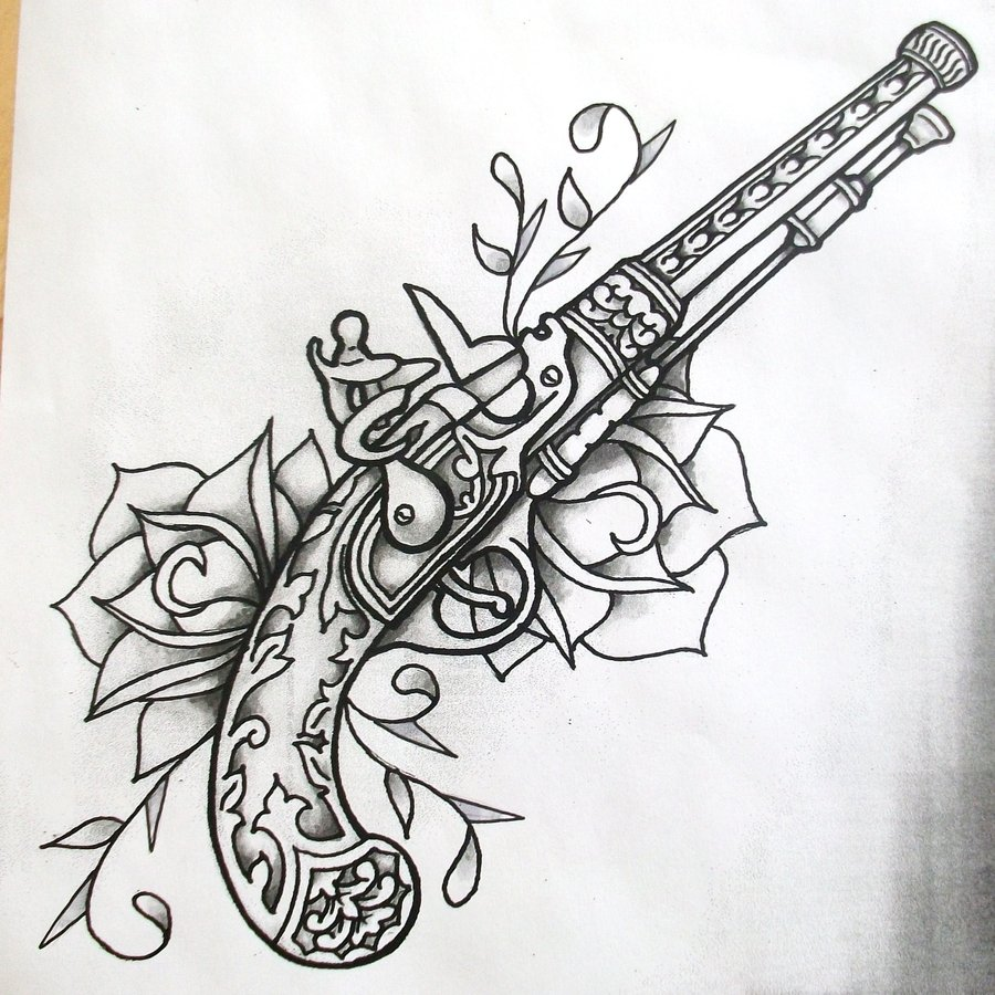 Drawn pistol guns and rose Roses  by and deviantart