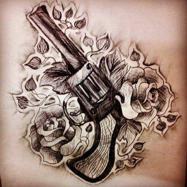 Drawn pistol guns and rose On Ancora Kimberley Guns Roses