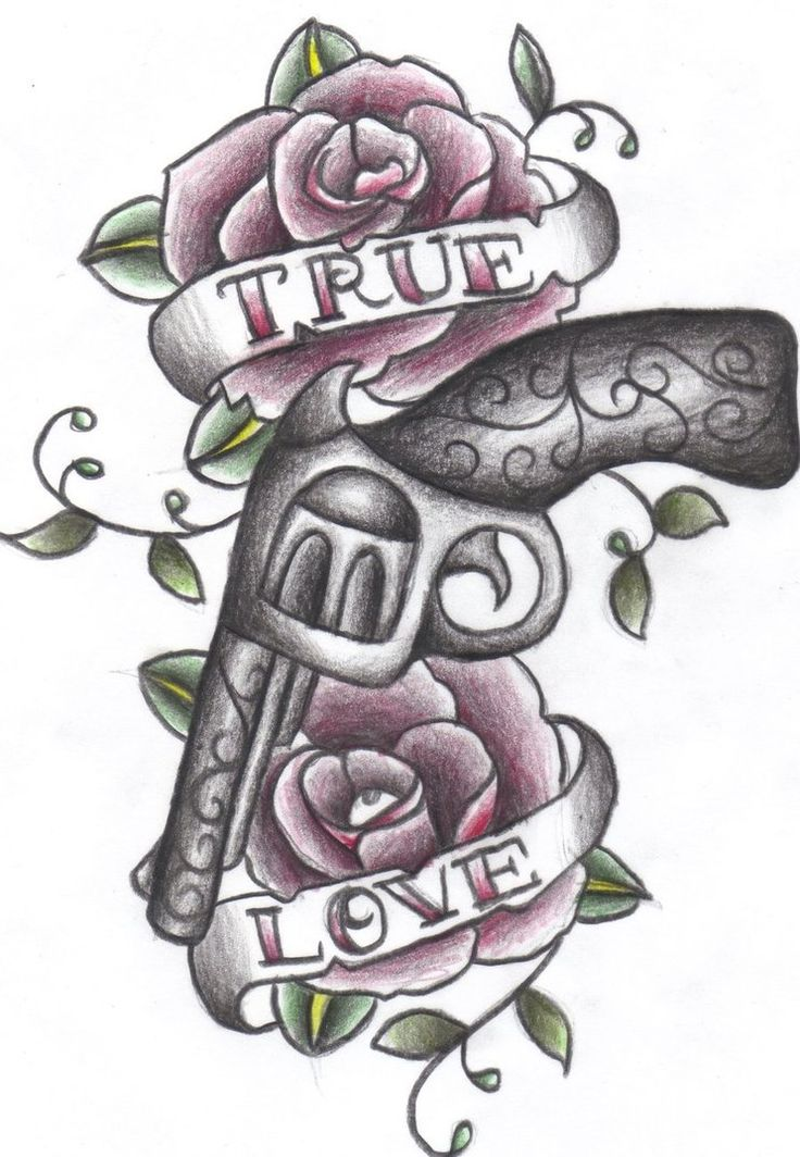 Drawn pistol guns and rose Ideas and tattoo by Drawing