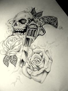 Drawn pistol guns and rose Gun Skull more tattoo Tatoo
