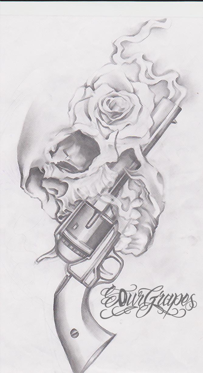 Drawn pistol guns and rose Tattoo Tattoo Skull Tattoobite Roses