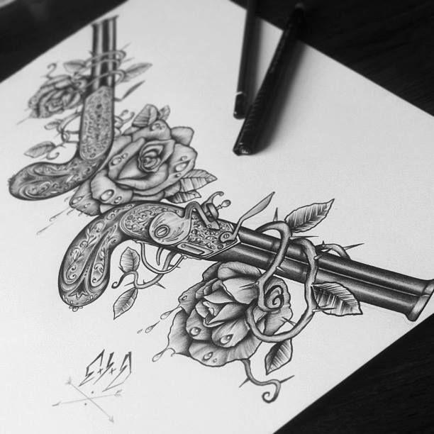 Drawn pistol guns and rose Guns tattoo tattoo Tatting Pinterest