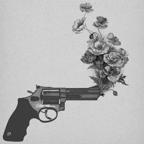 Drawn pistol guns and rose Tattoos want Pistol as flowers