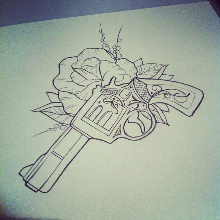 Drawn pistol guns and rose About tattoos great Pinterest ideas