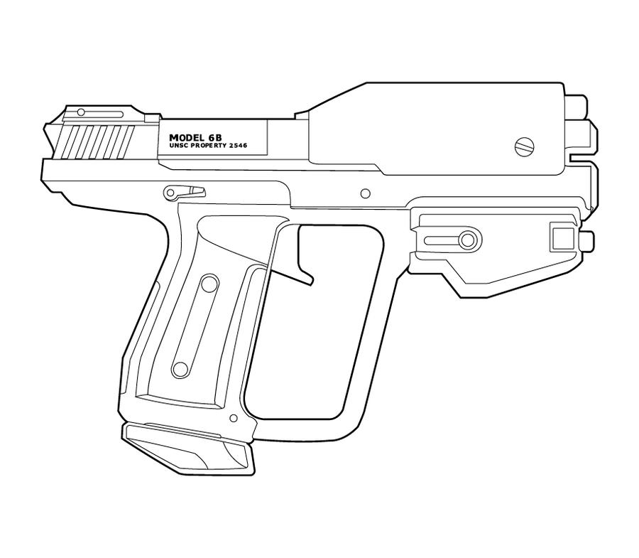 Drawn pistol halo 89 M6G m6g Lineart MasterChiefFox